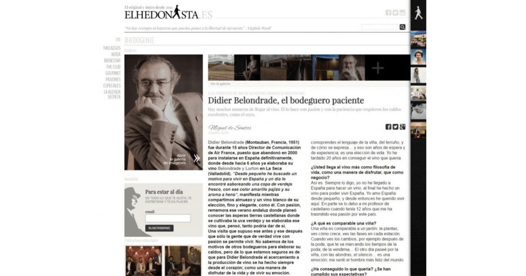 Entrevista a Didier Belondrade - El Hedonista por Miguel Santos
