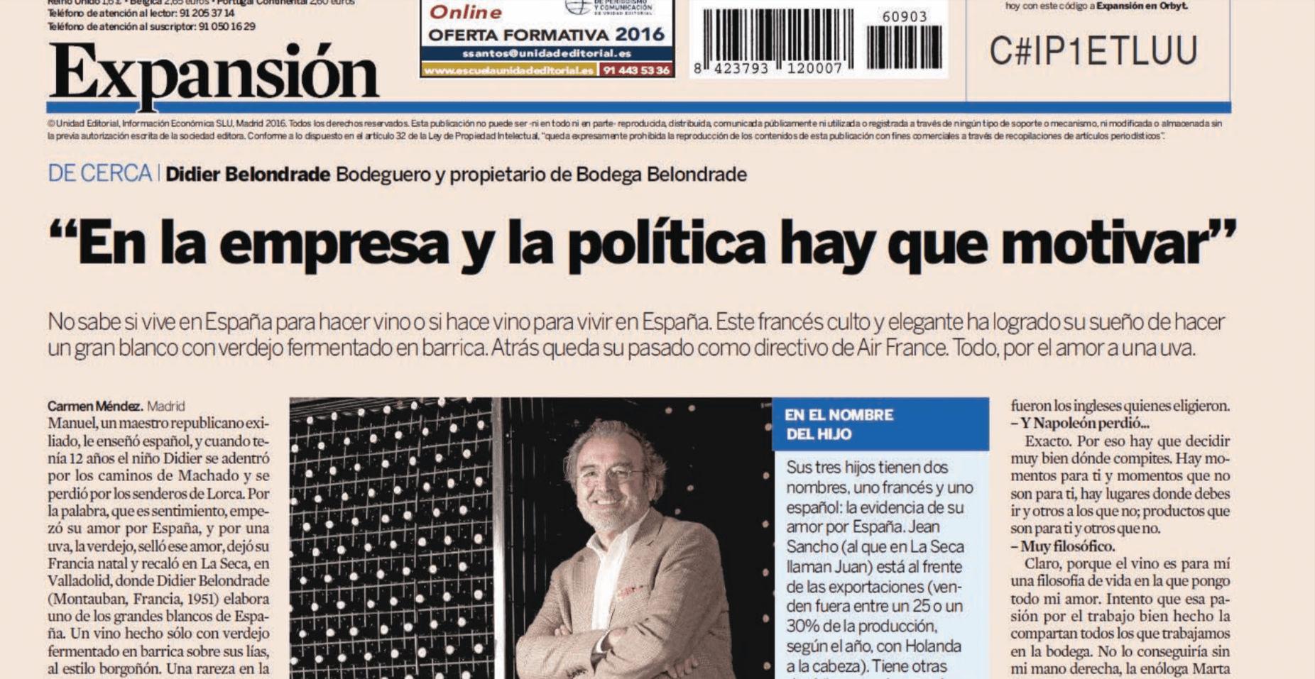Entrevista a Didier Belondrade - Expansión por Carmen Méndez